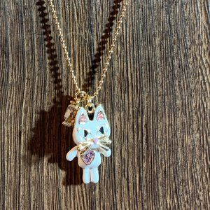 Betsey Johnson White Movable Cat Pendant Necklace
